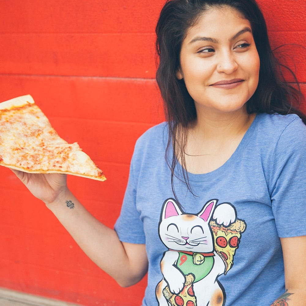 Scoopneck Tee - Lucky Pizza Cat