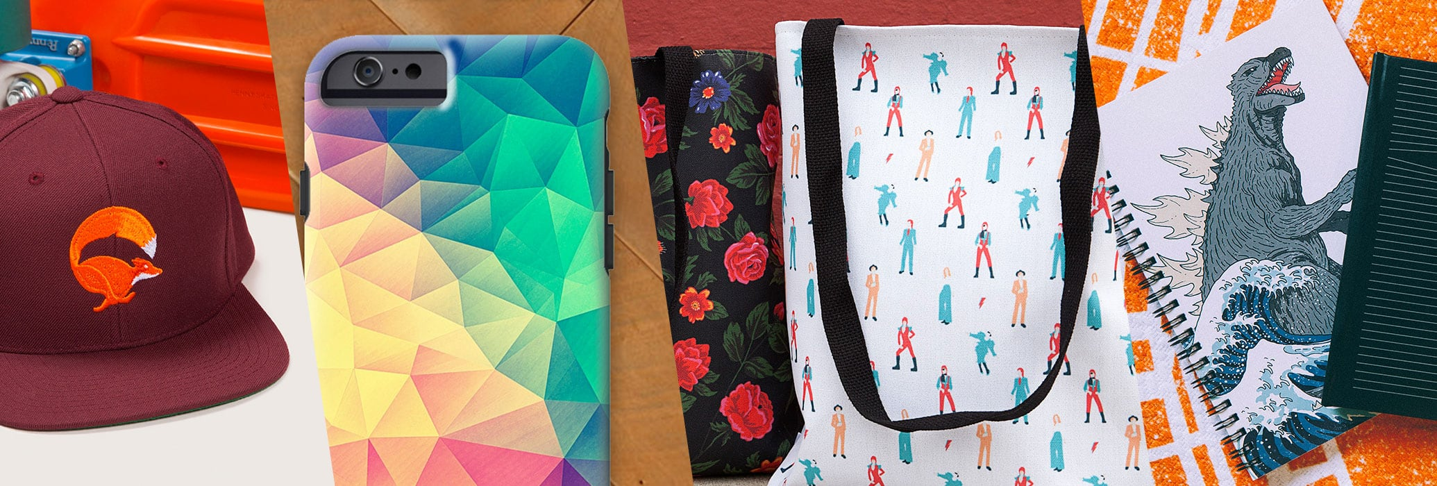 Accessorize with hats, beanies, tote bags, stickers, phone cases, mugs, notebooks, and journals