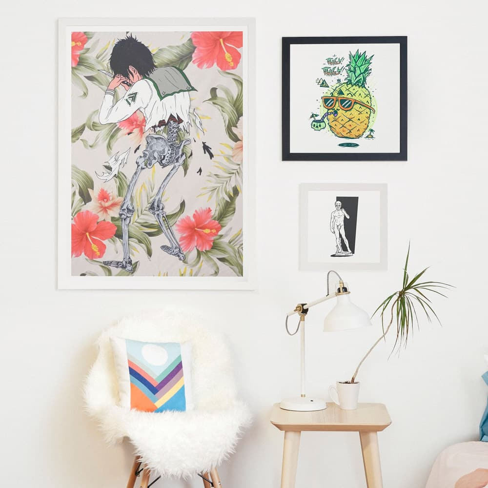 Contemporary styling with framed and fine art prints