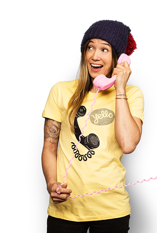 Happy woman talking on the phone about rewards