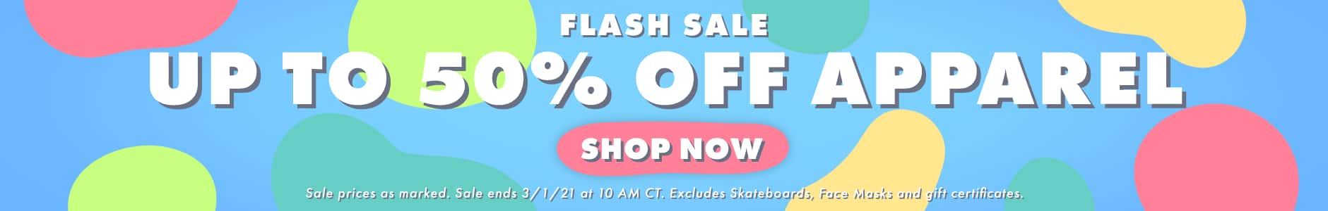 FLASH SALE: Up to 50% Off Apparel
