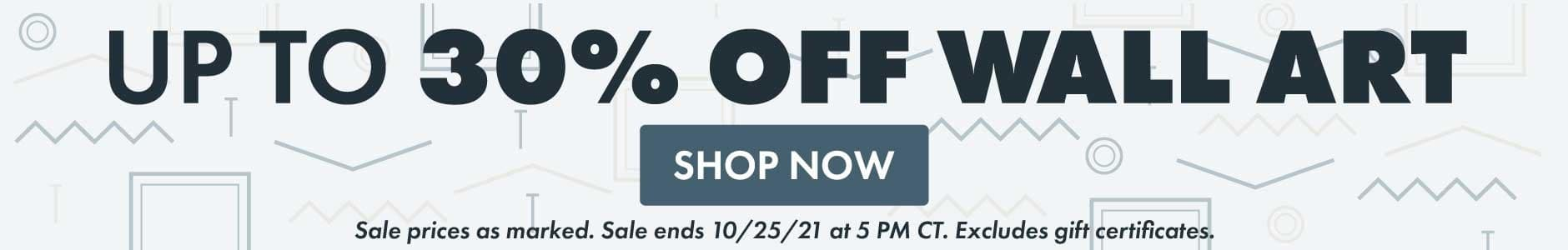 Up to 30% Off Wall Art