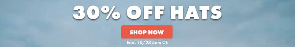 30% off hats. shop now. Ends 10/28 5PM CT