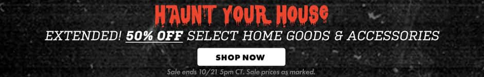 50% off select home goods & accessories! Shop now. Sale ends 10/21 5PM CT. Sale prices as marked.