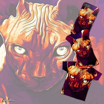 sphynx cat from hell late sunset vector art