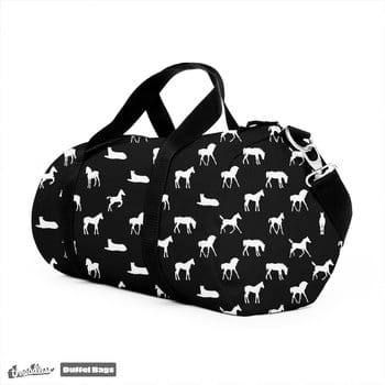 Foals All Over Pattern White on Black Duffel Bag