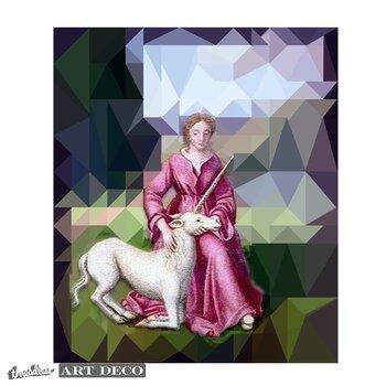 Geometric Maiden with Unicorn