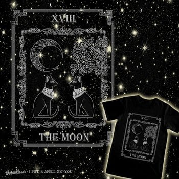 "Tarot ""The Moon"" - silver - cat version"