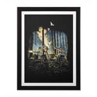 HOT CHICKS ON WOLVES - black-vertical-framed-print - small view