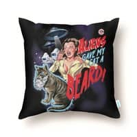 Aliens Gave My Cat a Beard! - throw-pillow - small view