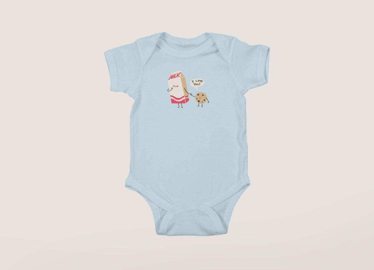 3d422584d Cookie Loves Milk by Jess Fink | Baby Bodysuit Threadless