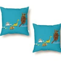 Nice Try, Dinosaurs! - throw-pillow - small view