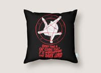 EVERY TIME A CAT CLEANS ITSELF IT IS WORSHIPPING THE DARK LORD - throw-pillow - small view