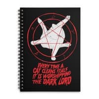 EVERY TIME A CAT CLEANS ITSELF IT IS WORSHIPPING THE DARK LORD - spiral-notebook - small view