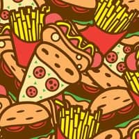 Burger, Hot Dog, Pizza and Fries - small view