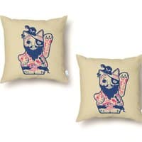 Lucky Cat Pirate - throw-pillow - small view