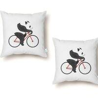 Panda Fixie - throw-pillow - small view