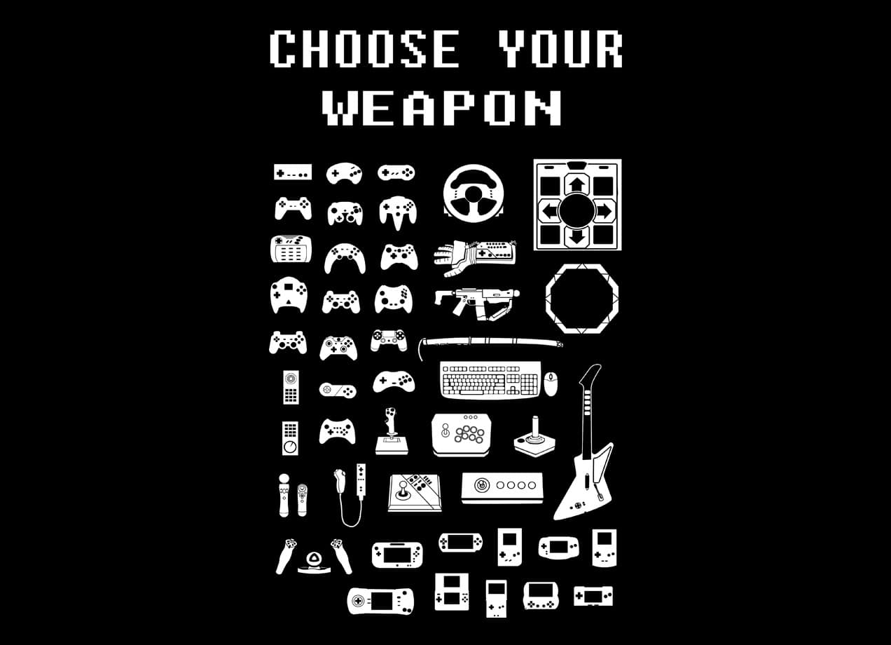 choose your weapon gamers by brian campbell threadless