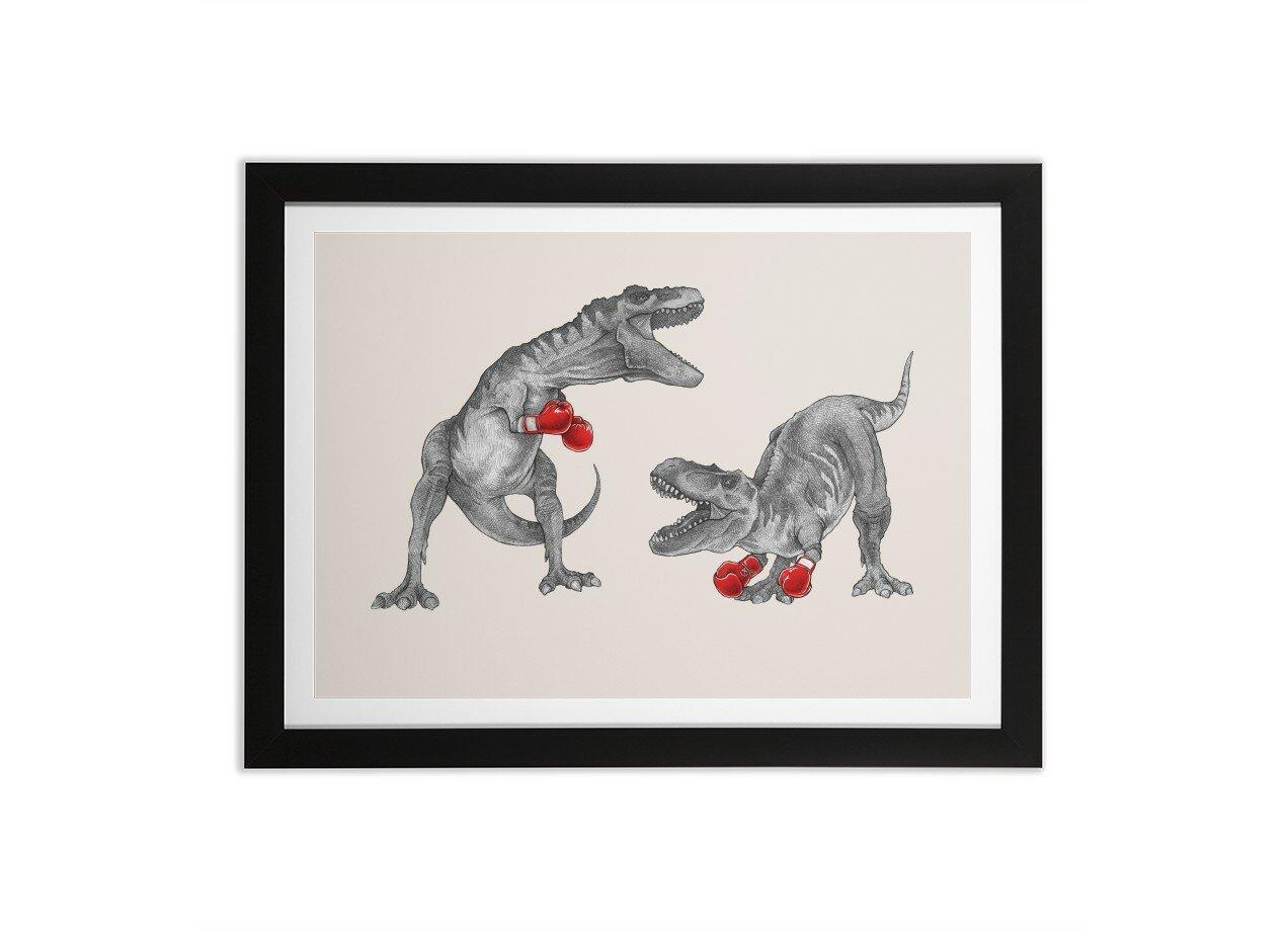T-Rex Boxing by Mike Marshall | Black Horizontal Framed Print Threadless