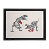 T-Rex Boxing - black-horizontal-framed-print - small view
