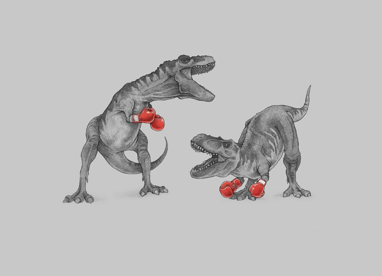 T Rex Boxing By Mike Marshall Threadless