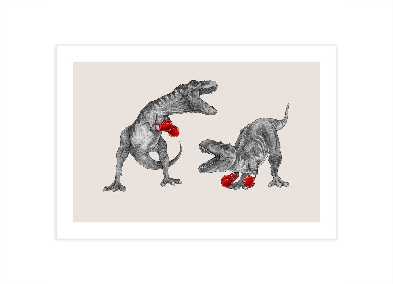 T Rex Boxing By Mike Marshall