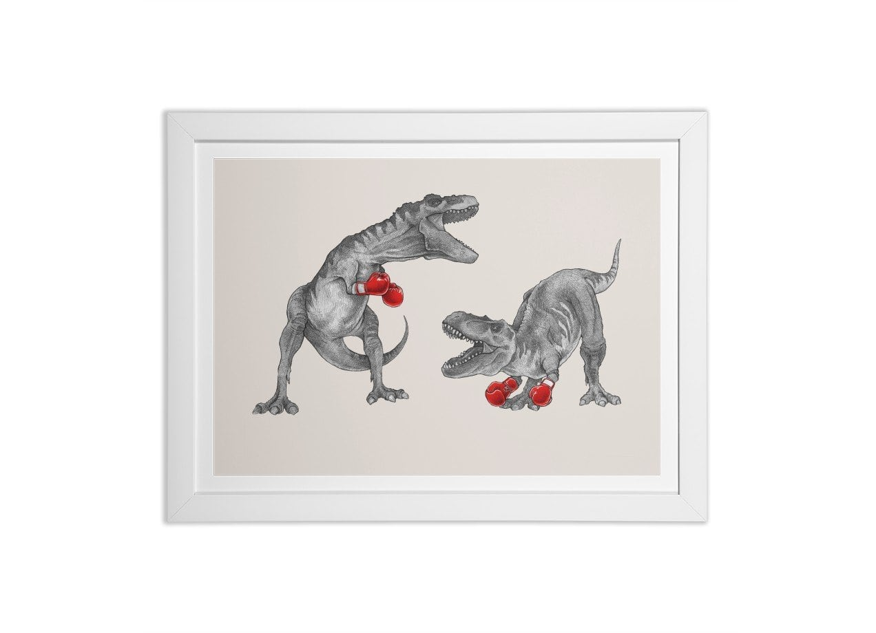 T-Rex Boxing by Mike Marshall | White Horizontal Framed Print Threadless