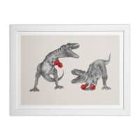 T-Rex Boxing - white-horizontal-framed-print - small view
