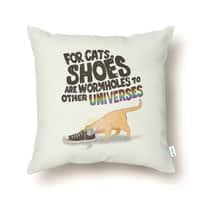 For Cats, Shoes are Wormholes to Other Universes - throw-pillow - small view