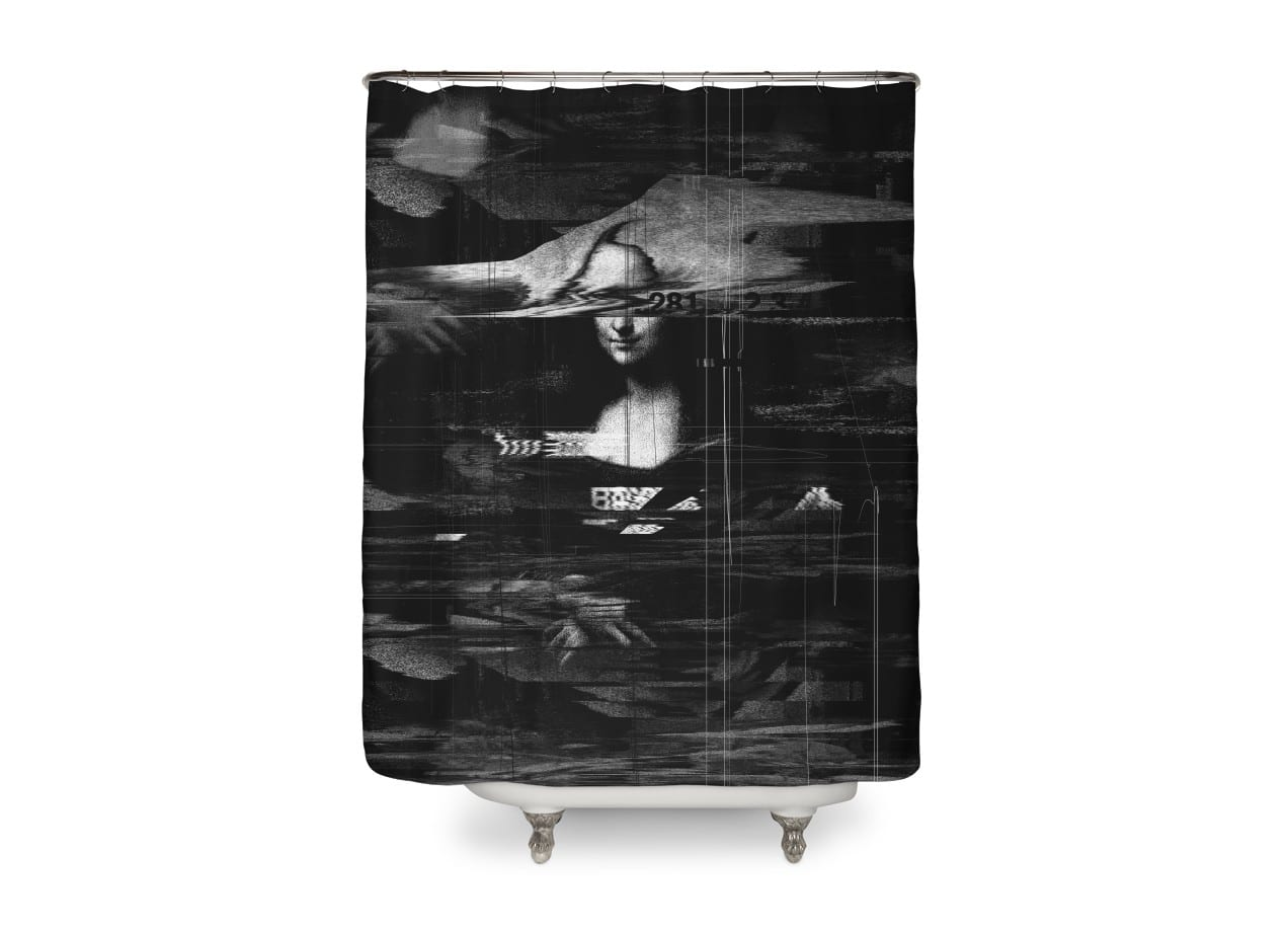 Mona lisa glitch by francis laurence minoza shower for Mona lisa shower curtain