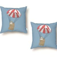 Parachuting Sloth - throw-pillow - small view