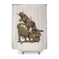 Cats Riding T-Rexs! - shower-curtain - small view