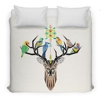 Deer Birds - duvet-cover - small view
