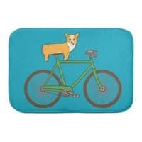 Corgi on a Bike - bath-mat - small view