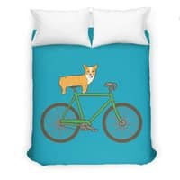 Corgi on a Bike - duvet-cover - small view