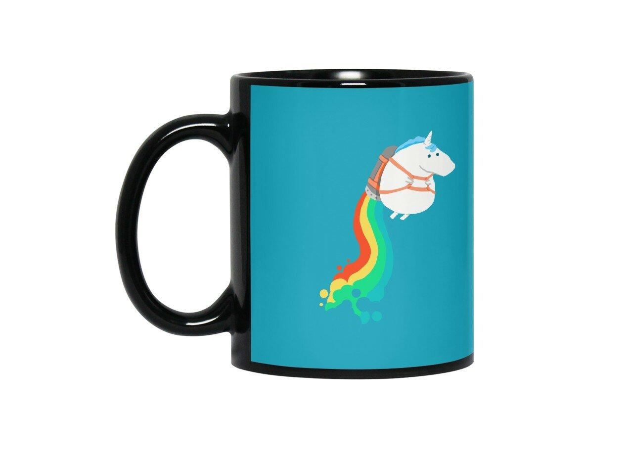 Fat Unicorn On Rainbow Jetpack By Radiomode Black Mug