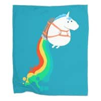 Fat Unicorn on Rainbow Jetpack - blanket - small view