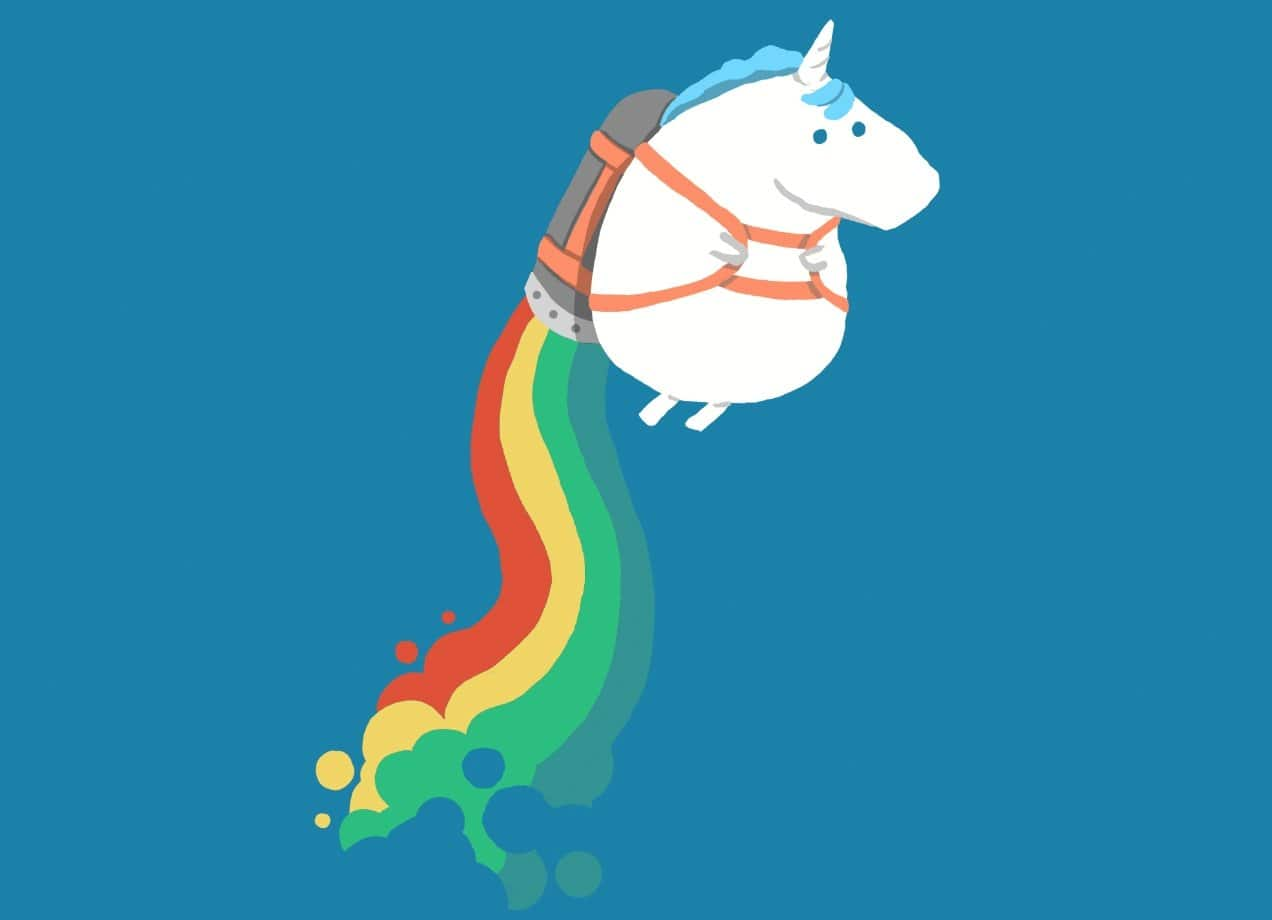 Fat Unicorn On Rainbow Jetpack By Radiomode Shower