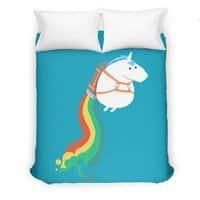 Fat Unicorn on Rainbow Jetpack - duvet-cover - small view