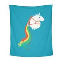 Fat Unicorn on Rainbow Jetpack - indoor-wall-tapestry-vertical - small view