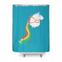 Fat Unicorn on Rainbow Jetpack - shower-curtain - small view