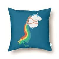 Fat Unicorn on Rainbow Jetpack - throw-pillow - small view