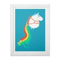 Fat Unicorn on Rainbow Jetpack - white-vertical-framed-print - small view