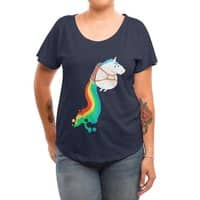 Fat Unicorn on Rainbow Jetpack - womens-dolman - small view