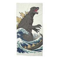 The Great Monster Off Kanagawa - beach-towel - small view