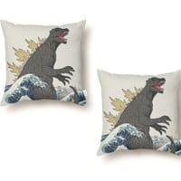 The Great Monster Off Kanagawa - throw-pillow - small view