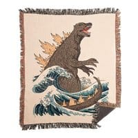 The Great Monster Off Kanagawa - woven-blanket - small view