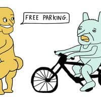 Yellow Naked Man Offers Free Parking to a Worried Green Creature - small view