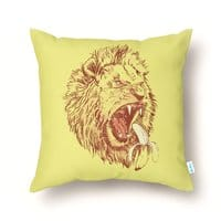 Banana Eating Lion - throw-pillow - small view
