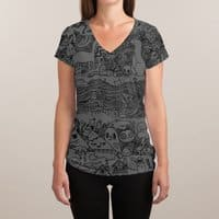 Many Layered Doodle - womens-sublimated-v-neck - small view